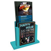 Menu Solutions WDMH-WET Sky Blue Wood Menu Holder with 4 inch x 6 inch Wet Erase Board Insert