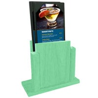 Menu Solutions WDMS-RI-WASHEDTEAL Washed Teal Wood Menu Holder with 4 inch x 6 inch Sheet Protector