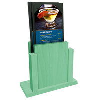 Menu Solutions WDMS-RI Washed Teal Wood Menu Holder with 4 inch x 6 inch Sheet Protector