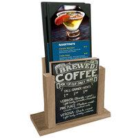 Menu Solutions WDMH-CHALK-WEATHWALNUT Weathered Walnut Wood Menu Holder with 4 inch x 6 inch Chalk Board Insert