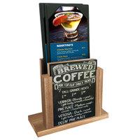 Menu Solutions WDMH-CHALK Weathered Walnut Wood Menu Holder with 4 inch x 6 inch Chalk Board Insert