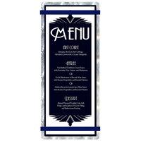 Menu Solutions ALSIN41-RB Alumitique 4 1/4 inch x 11 inch Customizable Swirl Aluminum Menu Board with Navy Bands