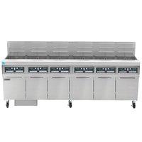 Frymaster FPPH655 Liquid Propane 300 lb. 6 Unit High-Efficiency Gas Floor Fryer System with CM3.5 Controls - 480,000 BTU