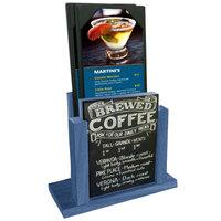 Menu Solutions WDMH-CHALK-TRUEBLUE True Blue Wood Menu Holder with 4 inch x 6 inch Chalk Board Insert