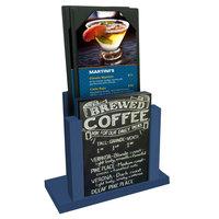 Menu Solutions WDMH-CHALK True Blue Wood Menu Holder with 4 inch x 6 inch Chalk Board Insert
