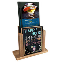 Menu Solutions WDMH-WET Weathered Walnut Wood Menu Holder with 4 inch x 6 inch Wet Erase Board Insert