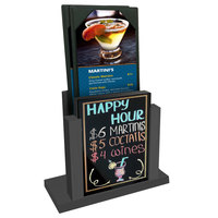 Menu Solutions WDMH-WET Ash Wood Menu Holder with 4 inch x 6 inch Wet Erase Board Insert
