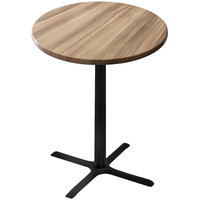 Holland Bar Stool OD211-3042BWOD30RNat 30 inch Round Natural Outdoor / Indoor Bar Height Table with Cross Base