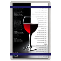 Menu Solutions ALSIN58-RB Alumitique 5 1/2 inch x 8 1/2 inch Customizable Brushed Aluminum Menu Board with Navy Bands