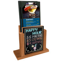 Menu Solutions WDMH-WET-COUNTRYOAK Country Oak Wood Menu Holder with 4 inch x 6 inch Wet Erase Board Insert