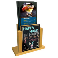 Menu Solutions WDMH-WET Country Oak Wood Menu Holder with 4 inch x 6 inch Wet Erase Board Insert
