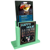 Menu Solutions WDMH-WET-WASHEDTEAL Washed Teal Wood Menu Holder with 4 inch x 6 inch Wet Erase Board Insert