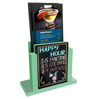 Menu Solutions WDMH-WET Washed Teal Wood Menu Holder with 4 inch x 6 inch Wet Erase Board Insert