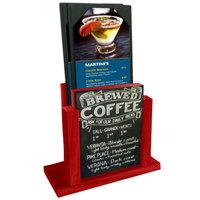 Menu Solutions WDMH-CHALK-BERRY Berry Wood Menu Holder with 4 inch x 6 inch Chalk Board Insert