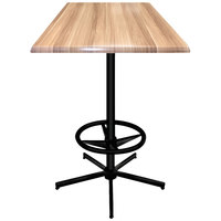 Holland Bar Stool OD21642BWOD36SQNat 36 inch Square Natural Outdoor / Indoor Bar Height Table with Foot Rest Base
