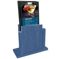 Menu Solutions WDMS-RI-TRUEBLUE True Blue Wood Menu Holder with 4 inch x 6 inch Sheet Protector