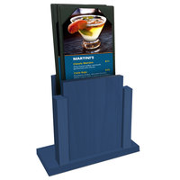 Menu Solutions WDMS-RI True Blue Wood Menu Holder with 4 inch x 6 inch Sheet Protector