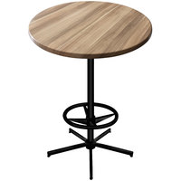 Holland Bar Stool OD21642BWOD30RNat 30 inch Round Natural Outdoor / Indoor Bar Height Table with Foot Rest Base
