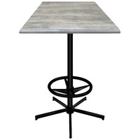 Holland Bar Stool OD21642BWOD36SQGryStn 36 inch Square Greystone Outdoor / Indoor Bar Height Table with Foot Rest Base