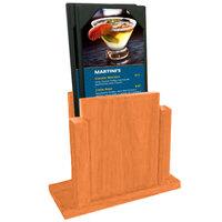 Menu Solutions WDMS-RI-MANDARIN Mandarin Wood Menu Holder with 4 inch x 6 inch Sheet Protector