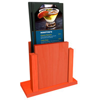 Menu Solutions WDMS-RI Mandarin Wood Menu Holder with 4 inch x 6 inch Sheet Protector