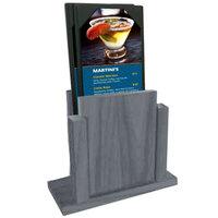 Menu Solutions WDMS-RI-ASH Ash Wood Menu Holder with 4 inch x 6 inch Sheet Protector