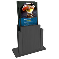 Menu Solutions WDMS-RI Ash Wood Menu Holder with 4 inch x 6 inch Sheet Protector