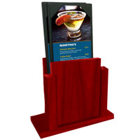 Menu Solutions WDMS-RI-BERRY Berry Wood Menu Holder with 4 inch x 6 inch Sheet Protector