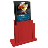 Menu Solutions WDMS-RI Berry Wood Menu Holder with 4 inch x 6 inch Sheet Protector