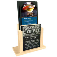 Menu Solutions WDMH-CHALK-NATURAL Natural Wood Menu Holder with 4 inch x 6 inch Chalk Board Insert
