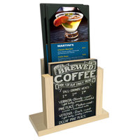 Menu Solutions WDMH-CHALK Natural Wood Menu Holder with 4 inch x 6 inch Chalk Board Insert