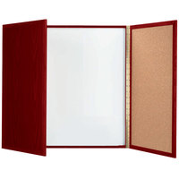 Aarco MP-40 40 inch x 40 inch Enclosed Cherry Laminate White Markerboard / Cork Bulletin Planning Board