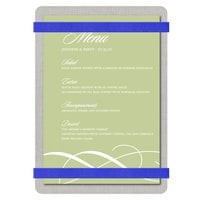 Menu Solutions ALSIN46-RB Alumitique 4 inch x 6 inch Customizable Brushed Aluminum Menu Board with Royal Blue Bands