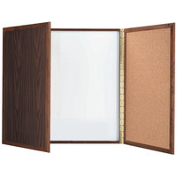 Aarco WP-36 36 inch x 36 inch Enclosed Walnut Laminate White Markerboard / Cork Bulletin Planning Board