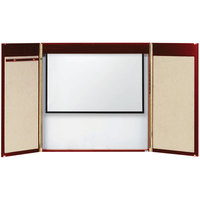 Aarco MVC-2 48 inch x 48 inch Cherry Hardwood Veneer White Markerboard Conference Cabinet with Projection Screen