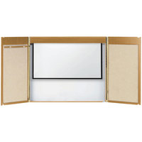 Aarco OVC-1 36 inch x 48 inch Oak Hardwood Veneer White Markerboard Conference Cabinet with Projection Screen