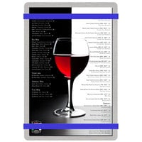 Menu Solutions ALSIN58-RB Alumitique 5 1/2 inch x 8 1/2 inch Customizable Brushed Aluminum Menu Board with Royal Blue Bands