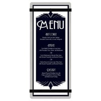 Menu Solutions ALSIN41-RB-BRUSH-BLACK Alumitique 4 1/4 inch x 11 inch Brushed Aluminum Menu Board with Black Bands
