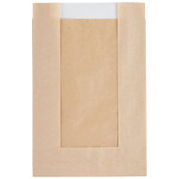 Bagcraft Papercon 300114 5 inch x 1 1/2 inch x 7 inch EcoCraft Kraft Grease Resistant Single Serve Window Cookie Bag - 500/Case