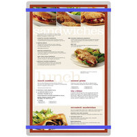 Menu Solutions ALSIN814-RB Alumitique 8 1/2 inch x 14 inch Customizable Brushed Aluminum Menu Board with Royal Blue Bands