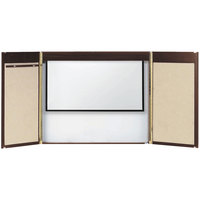 Aarco WC-1 36 inch x 48 inch Walnut Laminate White Markerboard Conference Cabinet with Projection Screen