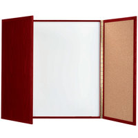 Aarco MP-48 48 inch x 48 inch Enclosed Cherry Laminate White Markerboard / Cork Bulletin Planning Board