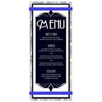 Menu Solutions ALSIN41-RB Alumitique 4 1/4 inch x 11 inch Customizable Swirl Aluminum Menu Board with Royal Blue Bands