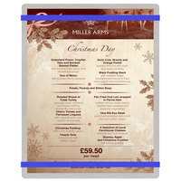 Menu Solutions ALSIN811-RB Alumitique 8 1/2 inch x 11 inch Customizable Brushed Aluminum Menu Board with Royal Blue Bands