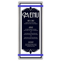 Menu Solutions ALSIN41-RB Alumitique 4 1/4 inch x 11 inch Customizable Brushed Aluminum Menu Board with Royal Blue Bands