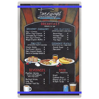 Menu Solutions ALSIN17-RB Alumitique 11 inch x 17 inch Customizable Brushed Aluminum Menu Board with Royal Blue Bands