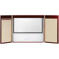 Aarco MVC-1 36 inch x 48 inch Cherry Hardwood Veneer White Markerboard Conference Cabinet with Projection Screen