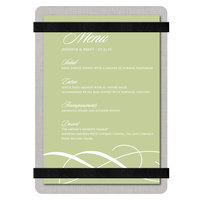Menu Solutions ALSIN46-RB-BRUSH-BLACK Alumitique 4 inch x 6 inch Brushed Aluminum Menu Board with Black Bands