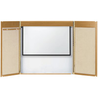 Aarco OC-2 48 inch x 48 inch Oak Laminate White Markerboard Conference Cabinet with Projection Screen