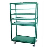 Winholt DR-2443 Green 43 inch x 24 inch Merchandiser Rack with Four Flat Shelves and Flat Bottom Shelf